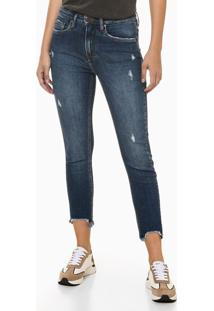 Calça Jeans Feminina Skinny Cintura Alta Azul Marinho Calvin Klein - 34