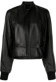 Bassike Cropped Leather Bomber Jacket - Preto