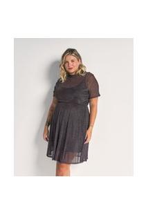 Vestido De Tule Poá Com Golinha Curve E Plus Size Preto
