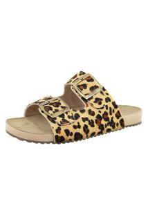 Sandália Birken Roma Shoes Em Couro Confort Onça