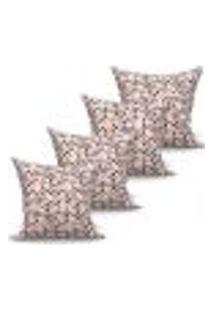 Conjunto De Capas Para Almofada Com 4 Peças Triângulo Tabaco 60X60 Cm