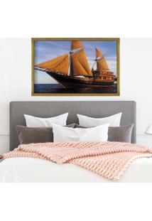 Quadro Love Decor Com Moldura Barco À Vela Dourado Grande