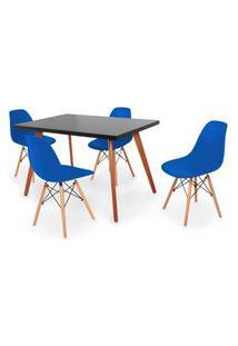 Conjunto Mesa De Jantar Gih 120X80Cm Preta Com 4 Cadeira Eames Eiffel - Azul