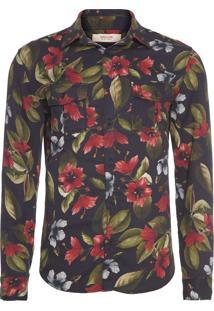 Camisa Masculina Floral Aqua - Preto