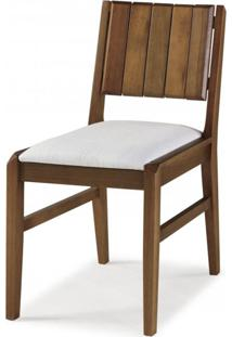 Cadeira Em Madeira Maciça Assento Estofado Angra Casa E Jardim Móveis Verniz Castanho