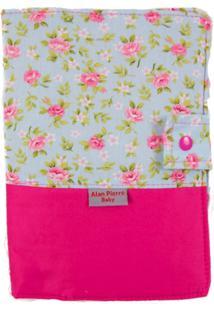 Capa Para Cartão De Vacinação - Alan Pierre Baby - Floral Azul Com Pink