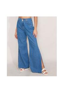 Calça Wide Pantalona Jeans Com Fenda Cintura Super Alta Azul Médio