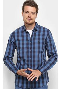 Camisa Manga Longa Acostamento Estampada Masculina - Masculino