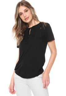 Camiseta Ana Hickmann Renda Preta