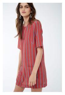 Vestido Seda Bolso Frente Bella Vermelho Est Listra Bella Vermelho