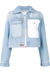 Kenzo Jaqueta Jeans Roses Com Logo - Azul