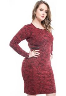 Vestido Plus Size Jacquard Com Couro Mirasul - Feminino-Bordô