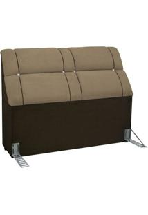 Cabeceira Cama Box King Simbal Imperador King - Taupe C/ Chocolate