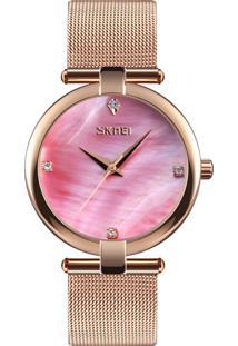 Relógio Skmei Analógico 9177 - Rosê E Rosa