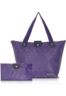 Bolsa Dobrável Jacki Design De Microfibra Estampada - Feminino-Roxo