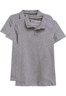Kit De 2 Camisas Polo Femininas Cinza