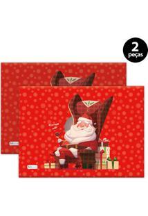 Jogo Americano Mdecore Natal Papai Noel 40X28 Cm Vermelho 2Pçs