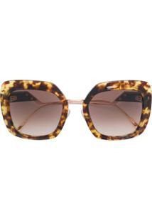 Fendi Eyewear Óculos De Sol Oversized - Marrom