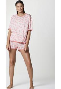 Pijama Curto Feminino Em Malha Estampada