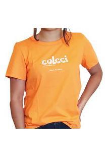Blusa T-Shirt Colcci Feminina Laranja Calazan