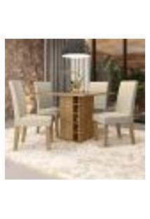 Conjunto De Mesa De Jantar Com Tampo De Vidro E 4 Cadeiras Chester Linho Bege E Freijó