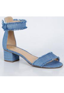Sandália Feminina Franjas Jeans Via Uno 190027
