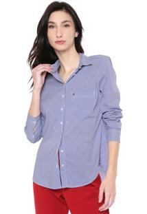 Camisa Tommy Jeans Reta Listrada Azul/Branca