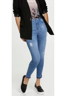 Calça Jeans Puídos Cigarrete Feminina Marisa