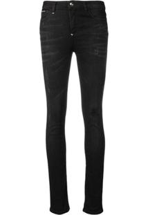 Philipp Plein Calça Jeans Destroyed - Preto