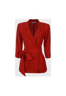 Blazer Feminino Amarração Cintura - Vermelho P