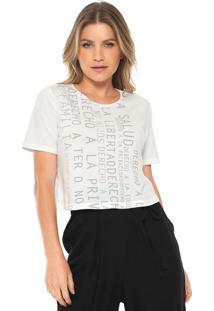 Camiseta Cropped Lança Perfume Lettering Branca