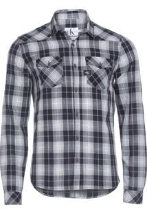 Camisa Masculina Xadrez - Preto