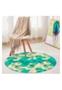 Tapete Redondo Wevans Abstrato Verde 84Cm