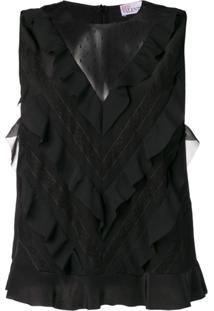 Red Valentino Sleeveless Ruffled Blouse - Preto