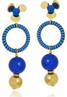 Brinco Le Diamond Esferas Seda E Resina Azul