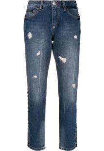 Philipp Plein Calça Jeans Boyfriend Destroyed - Azul