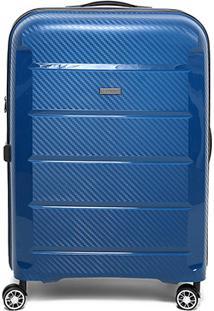 Mala De Viagem Luxcel Textura Rodas 360º - Masculino-Azul