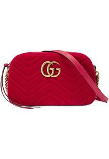 Gucci Bolsa 'Gg Marmont' Pequena De Veludo - Vermelho
