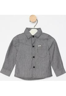 Camisa Listrada Com Bolso - Cinza & Branca- Oliveroliver