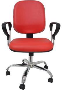 Cadeira Diretor Com Lâmina Com Relax Com Braço E Base Cromada Corano Vermelho