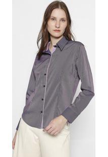 Camisa Listrada- Roxo Escuro & Lilã¡Sclub Polo Collection