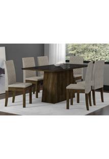 Conjunto Mesa Elegance Com 6 Cadeiras Cristal Sonetto Tampo De Vidro 160X90Cm - Rústico/Preto