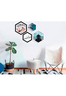 Kit 4 Quadros Com Moldura Hexagonal Peace