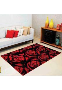 Tapete Para Sala Rayza Classic Marbella Veludo Boreal Rosas Red - 60Cm X 1,20M Vermelho/Preto