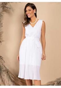 Vestido Midi Branco Com Saia Plissada