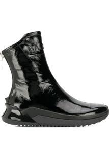 Balmain Logo Embossed Ankle Boots - Preto