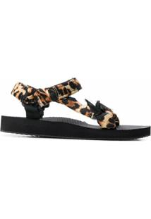Arizona Love Sandália Com Tiras De Leopardo - Preto