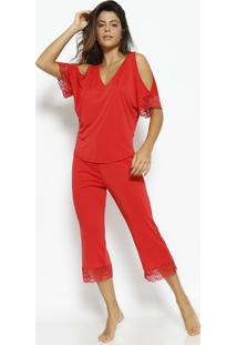 fc61f6b6f Capri · Manga Curta. -64% Pijama Liso Com Renda - Vermelho - Morena  Rosamorena Rosa