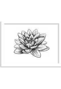 Quadro Decorativo Flor De Lótus Preto E Branco Branco - Médio