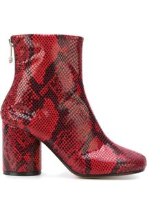 Maison Margiela Ankle Boot De Couro 'Socks' - Vermelho